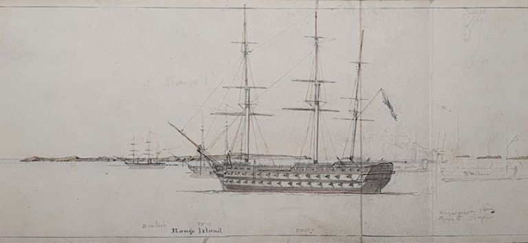 Study of the Hanko Penninsula, Finland for the British Navy during the Crimean War 1853-1856. Oswald Brierly.