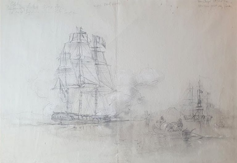 HMS Ivy in the Harbour. Oswald Brierly.