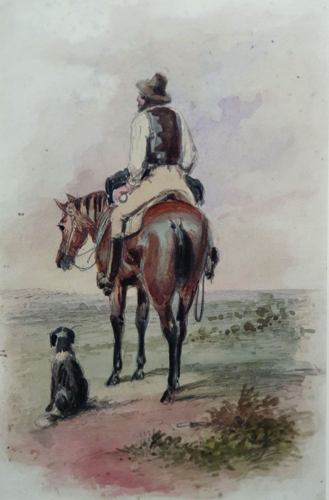 Drover on Horseback and his Dog. S. T. Gill.