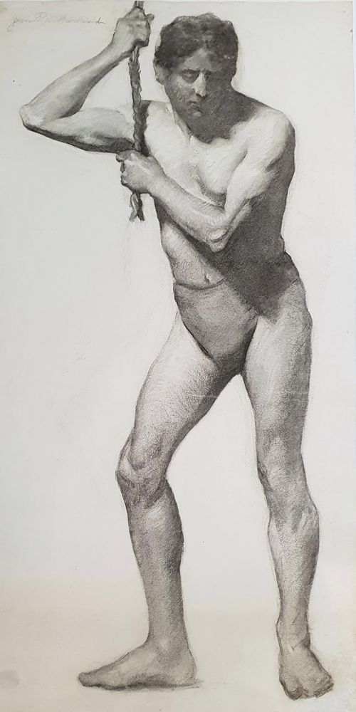 National Gallery School Life Study, Male Model tugging a Rope c1922. Jean Sutherland.