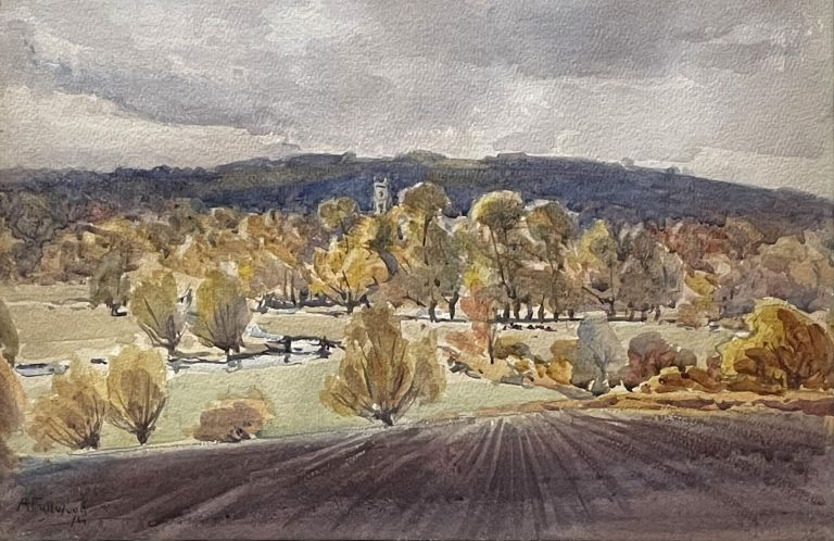 Looking towards the Hills with a Church Tower in the Distance 1911. Albert Henry Fullwood.