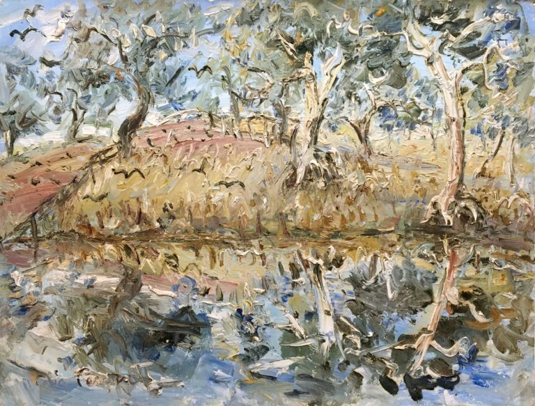 Ghost Gums by the Barwon River Near Burke, NSW. Celia Perceval.