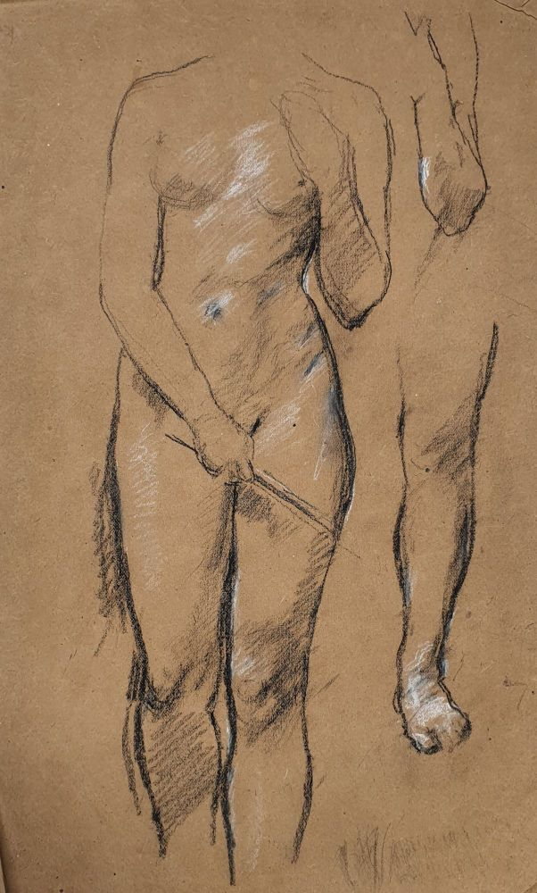Studies Female Nude Holding a Stick. William Linnell.