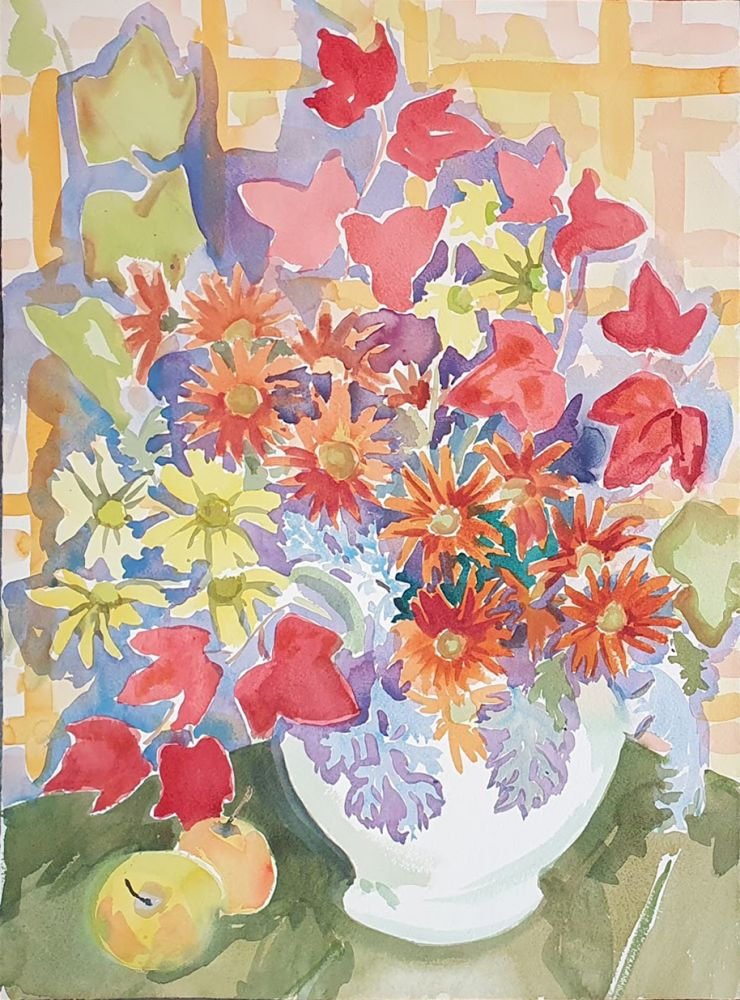 Mixed Bunch with Autumn Leaves. Nada Hunter.