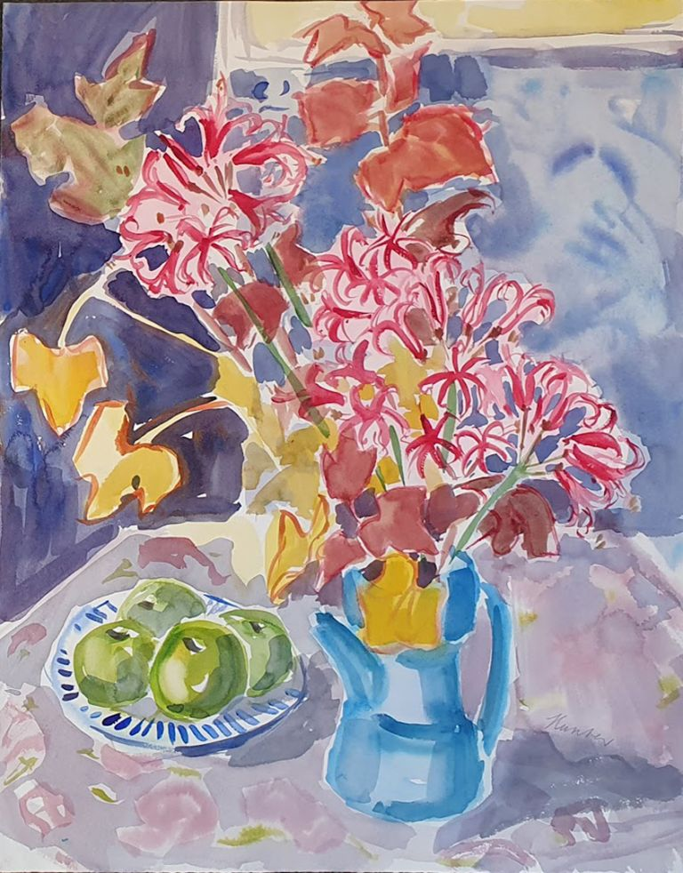 Autumn Leaves and Flowers in Blue Coffee Pot. Nada Hunter.