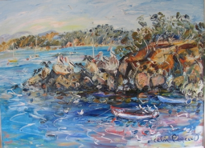 Pelicans in Twofold Bay 2005. Celia Perceval.