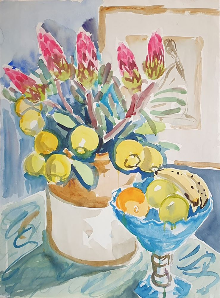 Proteas and Lemons in Stone Jug with Fruit. Nada Hunter.