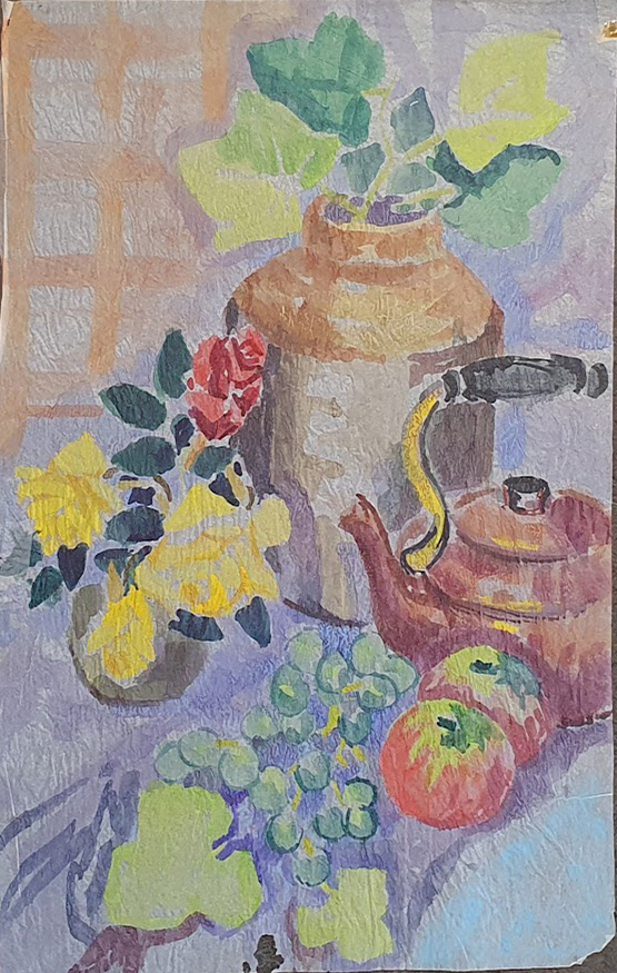 Still Life with Kettle and Stone Jar. Nada Hunter.