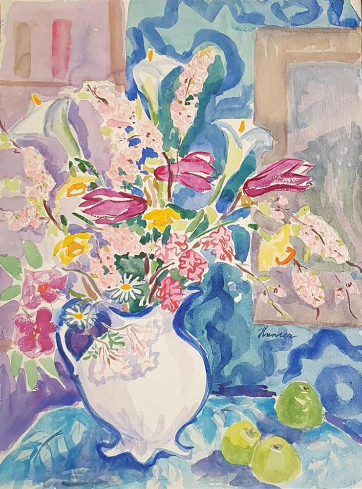 Still Life with Daisies and Lilies. Nada Hunter.