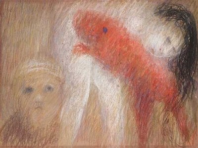 St. Francis with Red Dog and Nude. Arthur Boyd.