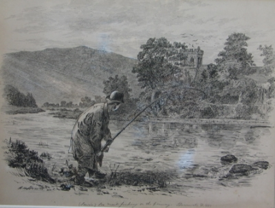 Trout Fishing on the Conway, North Wales. Alfred William Strutt.