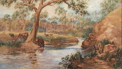 Fishing at the River Flats. Herbert Woodhouse.