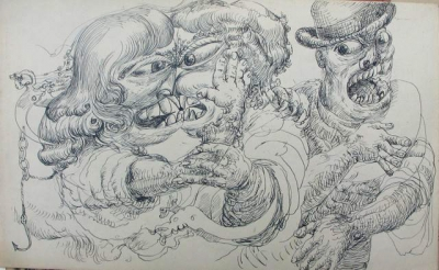 Two Confronting Women with Shouting Man. Clifford Bayliss.