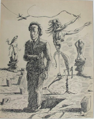 Male, Female Nudes and Aeroplane. Clifford Bayliss.