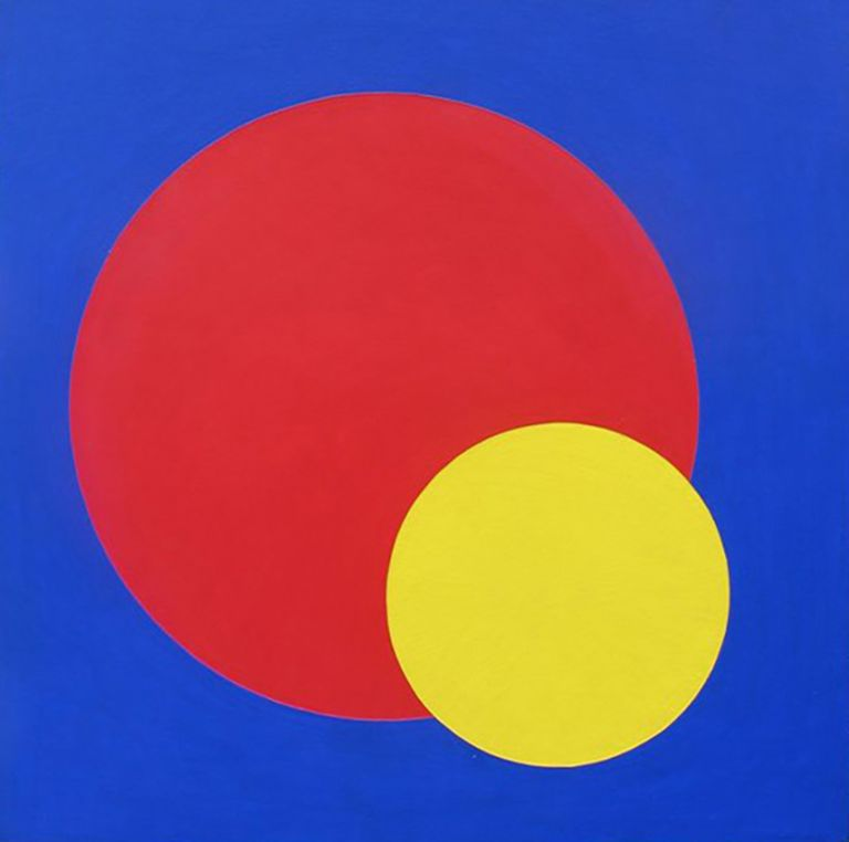 Study in Violet with Red and Gold Circles 1965-70. Clifford Bayliss.