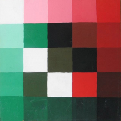 Colour Study in Black, White, Reds and Greens 1970. Clifford Bayliss.