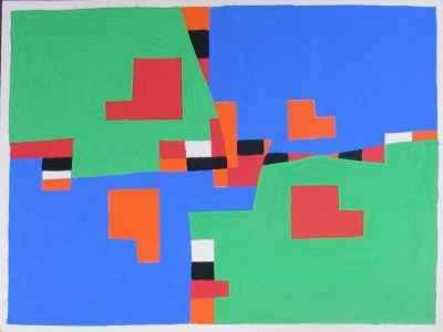 Colour Study in Black, White, Green, Blue, Orange and Red 1970. Clifford Bayliss.
