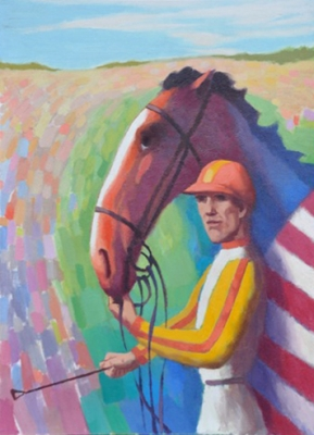 Horse and jockey in yellow and orange. Clifford Bayliss