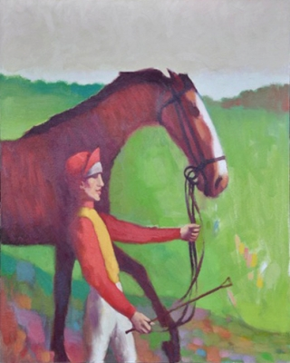 Horse and jockey in yellow and red. Clifford Bayliss