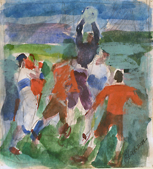Football, Goalkeeper takes the Ball 1960s. Evgeni Kazmin