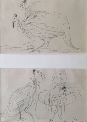 Two Studies of Guinea Fowl c1950. Francis Lymburner
