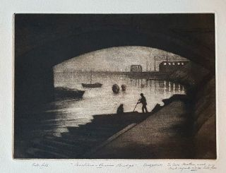 Nocturne, Princes Bridge c1921. Victor Cobb