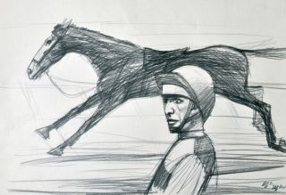 Running Horse and Rider. Clifford Bayliss