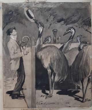 At the Zoo - Entertaining the Emus 1900. Harry Garlick