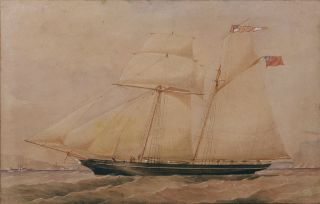 The Schooner Eclipse in Sydney Harbour c1865. Frederick Garling