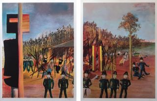 Siege at Glenrowan and Burning at Glenrowan. Sidney Nolan