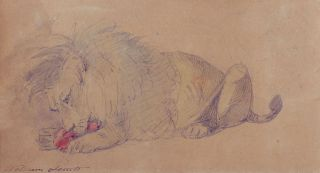 Lion Eating Meat. William Strutt