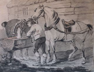 Watering The Horses. Johan Conrad Gessner