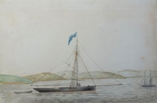 The Cutter Yacht Oberon off the Coast of Ireland 1853. Artist Unknown